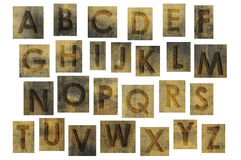 Brown grunge alphabet letters Royalty Free Stock Image