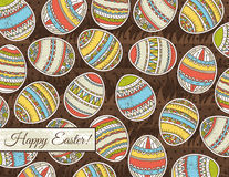 Brown grunge background with easter eggs Stock Photos