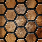 Brown Grunge Background with Hexagons Royalty Free Stock Photo