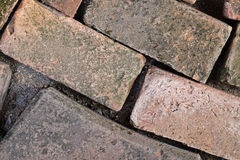 Brown grunge brick are arranged. In curve line Stock Photo