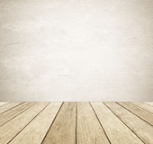 Brown grunge cement wall and perspective vintage wood background. Product display, template, room, table Stock Image