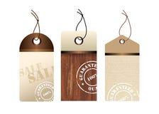 Brown grunge labels. Three elegant brown sales labels Stock Photos
