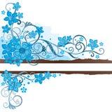 Brown grunge sztandar z turkusowymi kwiatami Zdjęcie Royalty Free