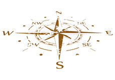 Brown grunge vector compass compressed Stock Photo