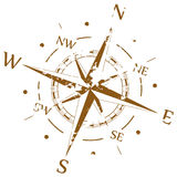 Brown grunge vector compass Stock Photos