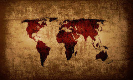 Brown grunge world map background Royalty Free Stock Image