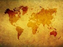 Brown grunge world map Stock Photo