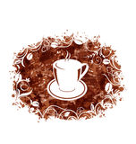 Brown Grungy Banner with Coffee Cup and Beans Royalty Free Stock Photography