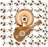 Brown guitar Royalty Free Stock Photos