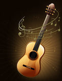 A brown guitar with musical notes Royalty Free Stock Images