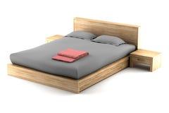 Brown-hölzernes Bett getrennt auf Weiß lizenzfreies stockbild