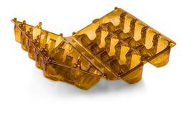 Brown ha aperto la scatola di plastica per le uova Fotografie Stock Libere da Diritti