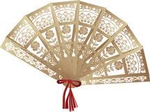 Brown ha decorato il ventilatore isolato su bianco Fotografia Stock