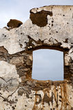 Brown ha distorto la parete Arrecife Lanzarote spagna della pittura Fotografia Stock
