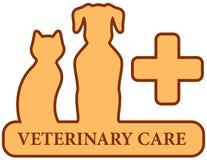 Brown ha isolato il simbolo veterinario di cura Immagine Stock