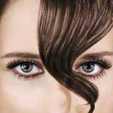 Brown Hair. Woman's face closeup with brown hair Stock Photos