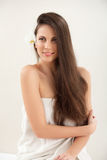 Brown Hair. Beautiful Brunette with Long Hair. Haircare. Stock Image