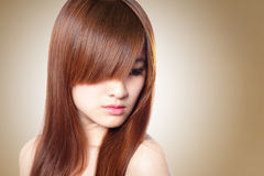 Beautiful Woman with Healthy Brown Hair Royalty Free Stock Image