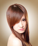 Beautiful Woman with Healthy Brown Hair Stock Photos
