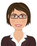 Brown Hair Business Woman with Glasses Royalty Free Stock Images
