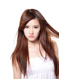 Fashion Woman with Brown Hair in wind Stock Photos
