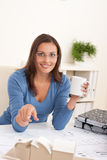 Brown hair female architect sitting Royalty Free Stock Photography