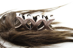 Brown hair with hair clip Stock Images