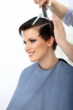 Brown Hair. Hairdresser doing Hairstyle. Beauty Model Woman. Haircut. Stock Photo