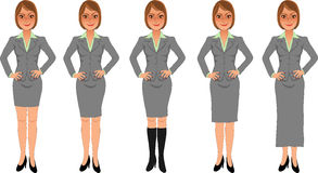 Brown-haired business woman grey skirt suit hands on hips. Brown-haired business woman with sassy smile, hands on hips, wearing grey skirt suit of various Royalty Free Stock Photos