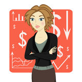 Brown-haired business woman wearing a suit and her arms folded on red chart background, vector Stock Images