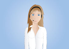 Brown-haired callcenter agent. Illustration of a beautiful brown-haired callcenter agent on light background Stock Images