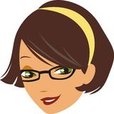 Brown Haired Girl. Headshot Illustration of girl with brown hair glasses and green eyes royalty free illustration