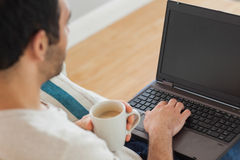 Brown haired man holding coffee using his laptop Royalty Free Stock Photo