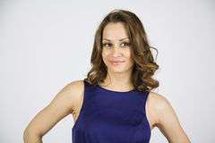 Brown haired woman smiling Royalty Free Stock Photo