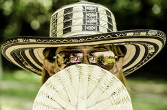 Brown Haired Woman in White and Black Sun Hat and Silver Frame Sunglasses during Daytime Stock Photos