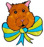 Brown hamster with green and blue bow, head, ink lines, drawing,. Hand drawn on white background Stock Photo