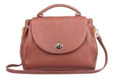 Brown handbag. Womans brown handbag isolated on white royalty free stock photography
