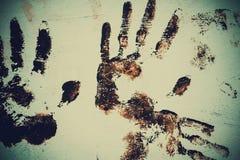 Brown Handprint on White Stock Photo