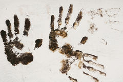Brown Handprint on White Royalty Free Stock Image