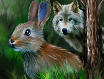 Brown hare and gray wolf. Hare, wolf, grass, mammal, action, wild animals, nature, rabbits Stock Photo