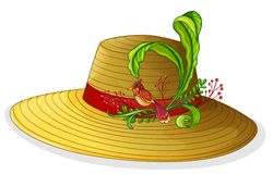 A brown hat with a bird and a plant Royalty Free Stock Photos