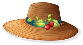 A brown hat with cherries Stock Images