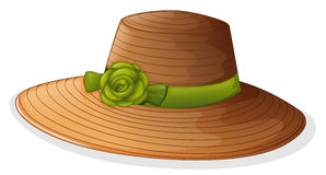 A brown hat with a green ribbon Stock Image