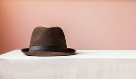 Brown hat on table Stock Photos