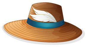 A brown hat with white feathers Royalty Free Stock Photography