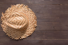 Brown hat is on the wooden background Stock Photo