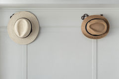 Brown hats hanging Stock Photo