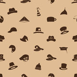 Brown hats icons set seamless pattern Stock Images