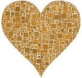 Brown Heart. The heart is composed by a mesh of colored square Stock Photos