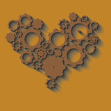Brown heart made from cogs Royalty Free Stock Images
